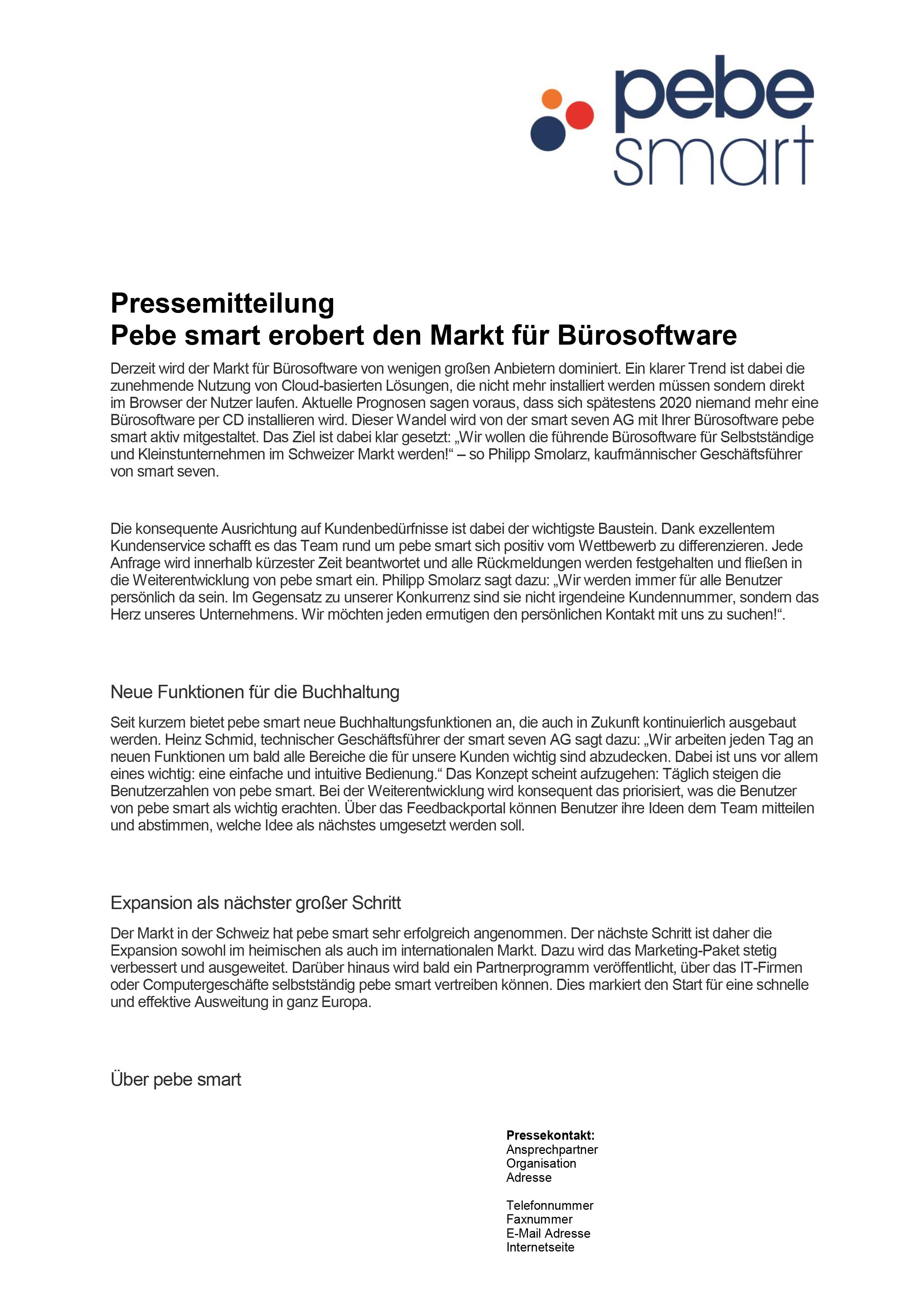 Pressemitteilung Vorlage Schweiz | Kostenlos bei pebe smart