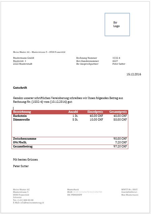 Kostenlose Gutschriftsvorlage Zum Download 13 13