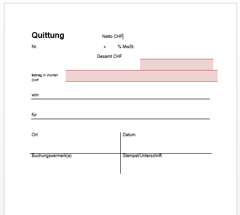 Quittung Vorlage Schweiz - Gratis Download | pebe smart