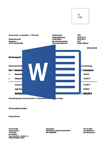 Rechnungsvorlage Schweiz | Word & Excel gratis Download ▻ pebe smart